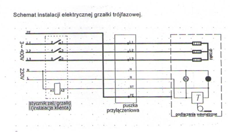 Rezistenta electrica trifazata 12 KW cu termostat - schema electrica