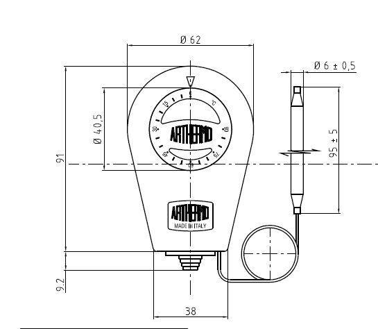 Termostat de imersie tub capilar productie Arthermo Italia - vedere fata