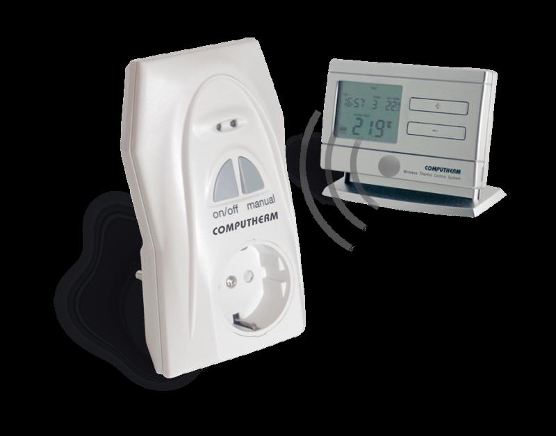 Ansamblu priza-termostat cu radiofrecventa COMPUTHERM Q1RX + Q8RF (TX)