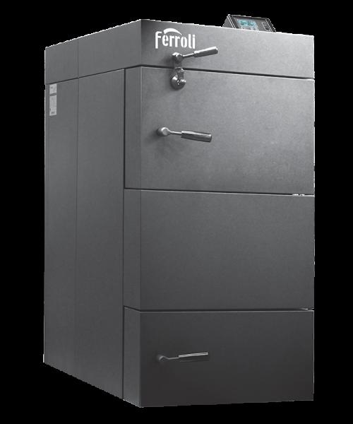 Centrala termica pe lemn cu gazeificare Ferroli CGF 36 kW cu panou de comanda digital