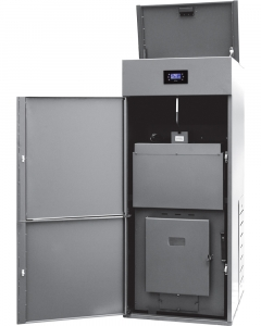 Centrala termica pe peleti Ferroli BioPellet Pro - vedere cu usa deschisa