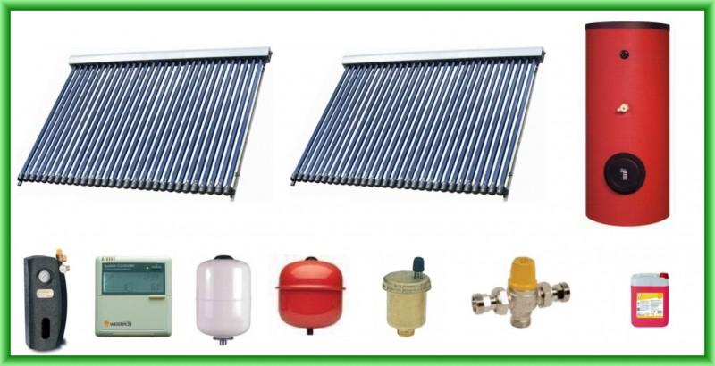 Pachet solar cu 2 panouri cu 30 tuburi vidate si boiler bivalent de 400 litri