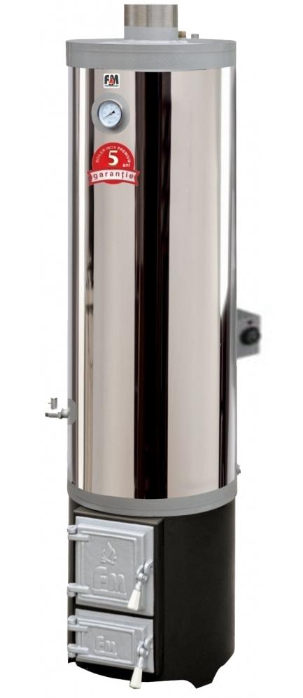 Ansamblu boiler inox 120 litri cu focar cu usi din fonta FM + ELECTRIC