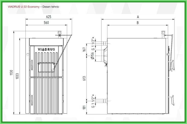Centrala termica pe lemn din fontă cu gazeificare Viadrus U22 Economy - desen tehnic