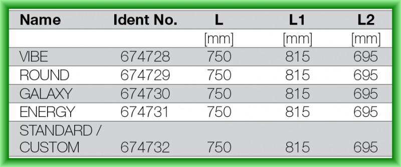 RIGOLA DE SCURGERE PENTRU DUS LIV 750 - tabel cu dimensiuni