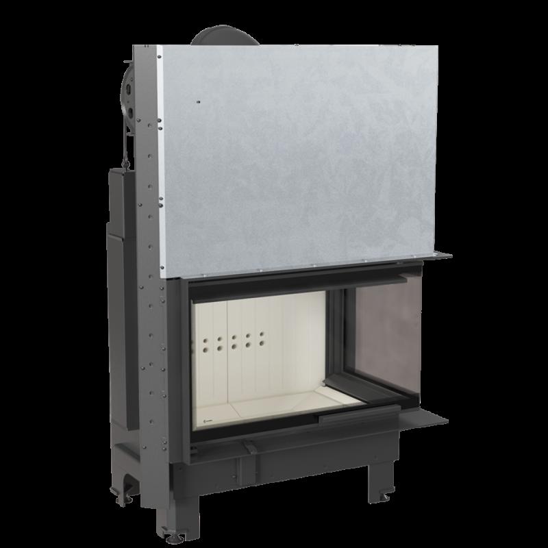 Semineu tip insert MBO 15 cu geam pe doua laturi si usa tip ghilotina 15 kW - vedere din stanga