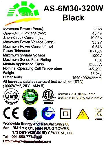 Panou solar fotovoltaic monocristalin AMERISOLAR AS-6M30-320 W - eticheta de timbru