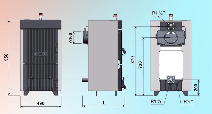 Centrala termica pe lemn din fonta DUNATECH - desen tehnic