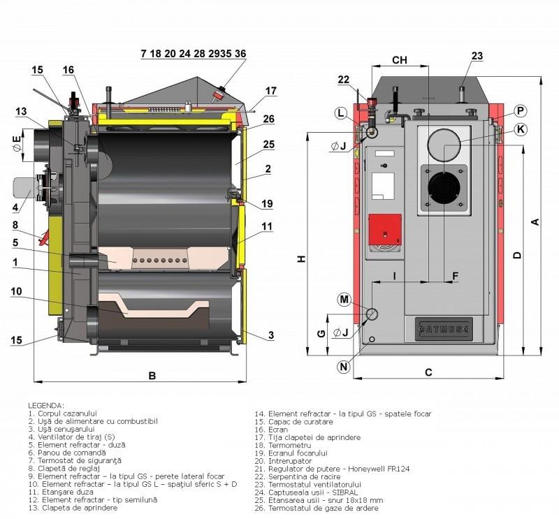 Centrala termica pe lemn cu gazeificare ATMOS DC22SX - desen tehnic