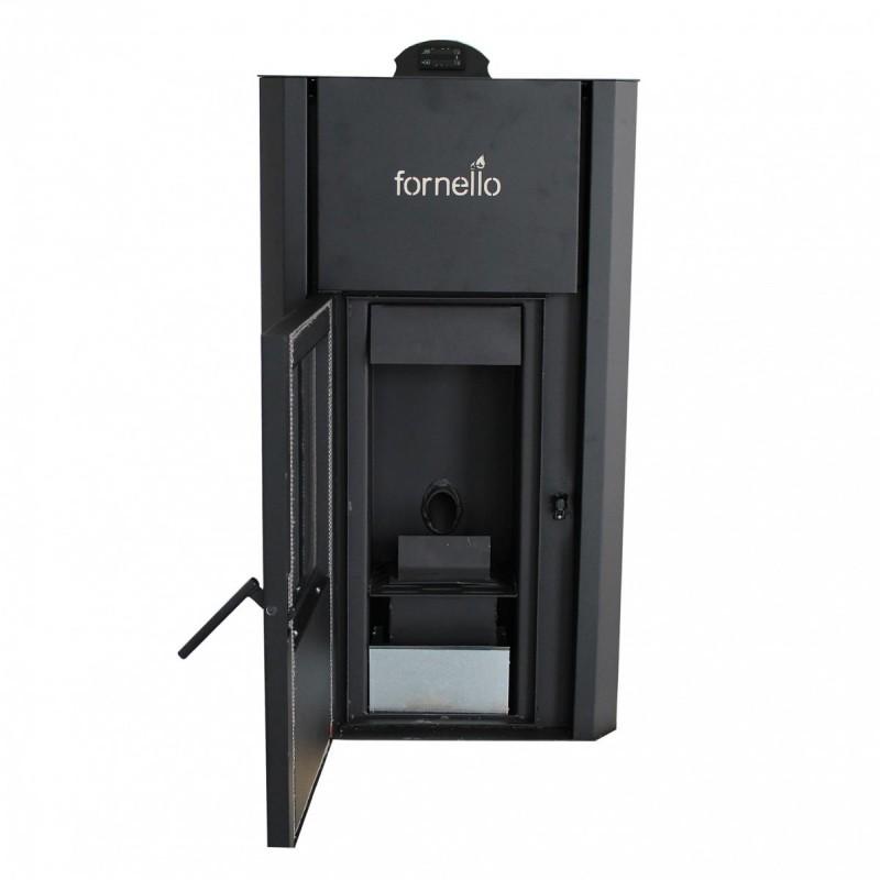 Termosemineu pe peleti FORNELLO PRIMO PELLET 25 kW - vedere cu usa deschisa