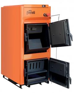 Centrala termica pe lemn Ferroli FSB PRO N - vedere cu usile deschise