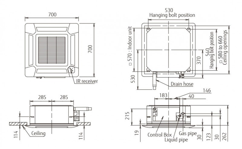 Echipament de climatizare tip caseta FUJITSU AUYG18LVLB/AOYG18LALL 18000 BTU - desen tehnic