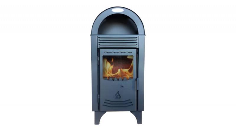 Termosemineu pe lemn tip centrala termica SAB vedere fata cu foc