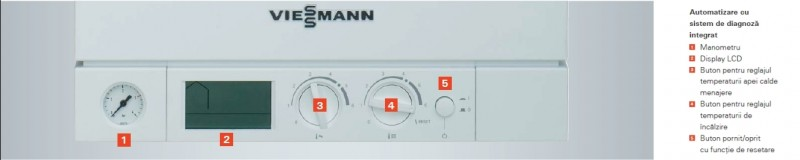 Centrala termica pe gaz Viessmann Vitopend 100-W 24 kW cu tiraj natural panou de comanda