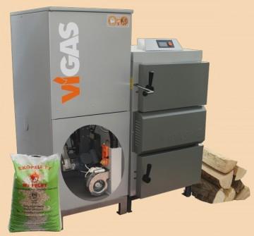 poza Centrala termica combi pe lemn cu gazeificare si pe peleti VIGAS 18 DPA 24/18 kW