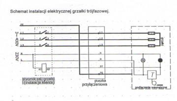 Poza Rezistenta electrica trifazata 12 KW cu termostat - schema electrica