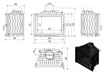 Poza Focar de semineu din fonta E120 Plus 12 kW - dimensiuni de gabarit