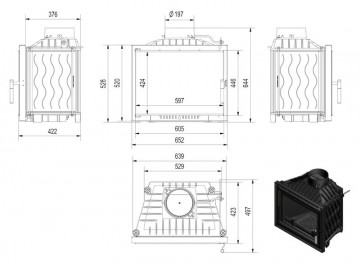 Poza Focar de semineu din fonta E120 Modern 12 kW - dimensiuni de gabarit