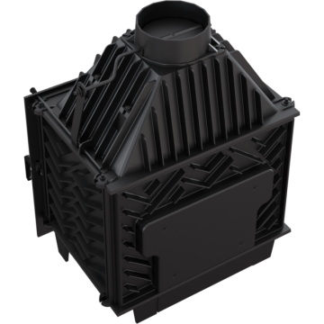 Poza Focar de semineu din fonta Z120 ECO 12 kW - vedere de sus-spate