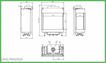 Poza Semineu pe gaz metan tip insert L76-62 8.5 kW geam stanga - desen tehnic
