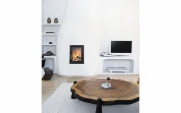 Poza Semineu pe lemn tip insert premium HOXTER HAKA 37-50 cu cupola - exemplu de montaj