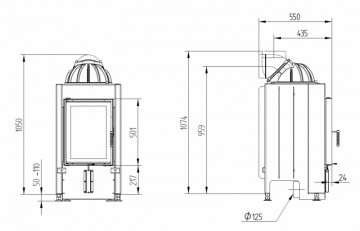 Poza Semineu pe lemn tip insert premium HOXTER HAKA 37-50 cu cupola - desen tehnic