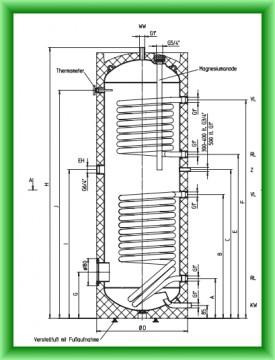 Poza Boiler pentru preparare apa calda cu doua serpentine AUSTRIA EMAIL HT 200 ERMR - desen tehnic