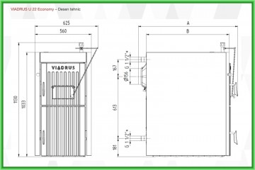 Poza Centrala termica pe lemn din fontă cu gazeificare Viadrus U22 Economy - desen tehnic