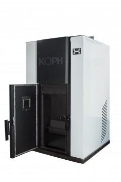 Poza Centrala termica pe peleti PM 40 kW - culoare gri cu usa deschisa