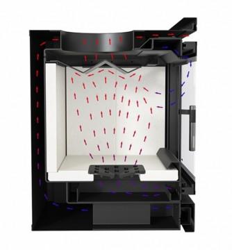 Poza Focar de semineu din otel refractar AK95 cu ventilator - schema circulatie aer
