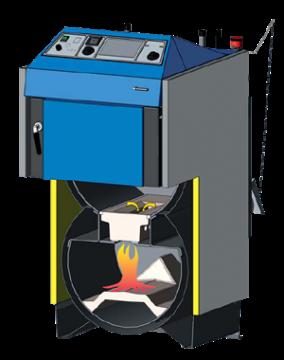 Poza Centrala termica pe lemn cu gazeificare ATMOS DC70S 70 kW - sectiune camera de gazeificare si focar