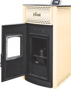 Poza Termosemineu pe peleti Ferroli SALERNO PELLET 24 kW - cu usa deschisa