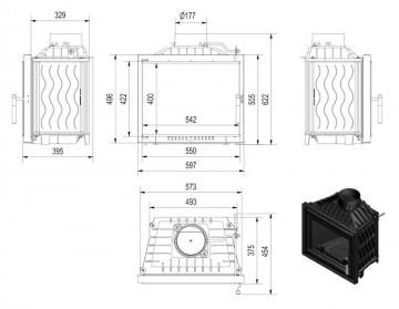 Poza Focar Semineu pe lemn A100 dimensiuni de gabarit